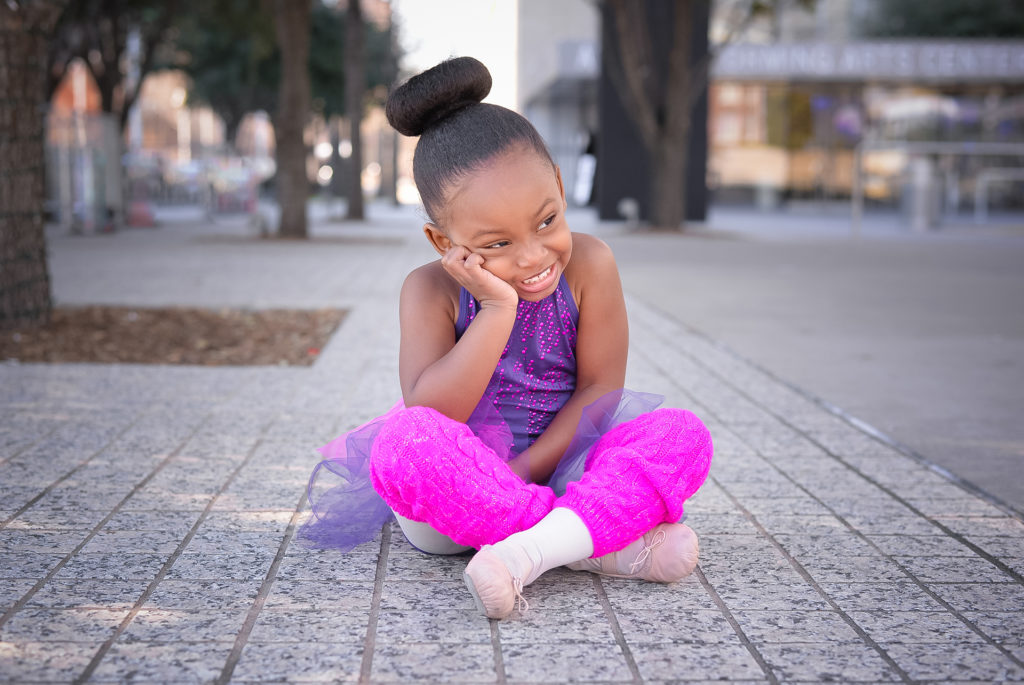 Adorable Little Ballerina Looks Away Shyly